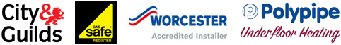 City & Guilds, Gas Safe, Worcester Boilers and Polypipe Underfloor Heating Logos